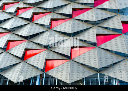 Side of modern building in Christchurch New Zealand - Stock Image