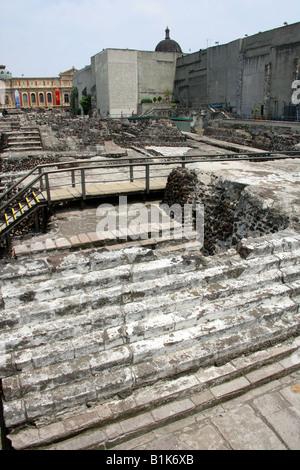 The Remains of the Great Pyramid Templo Mayor, Tenochtitlan, Zocalo Square, Plaza de la Constitucion, Mexico City, - Stock Image