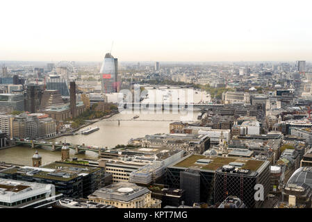London city skyline in England during the day with buildings and famous landmarks the Thames River - Stock Image