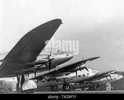 Imperial Airways aircraft at the Croydon Airport in London. In front is a DeHavilland DH.91 Albatross ('Frobisher'), behind it are two Armstrong Whitworth AW27 ('Ensign'). - Stock Image