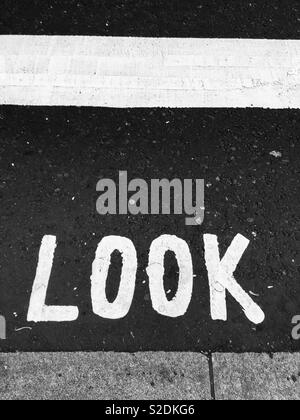 Look road sign - Stock Image
