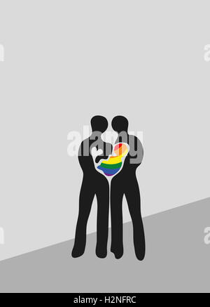 Rainbow family, gay parents with infant. - Stock Image