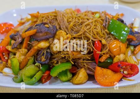 Hong Kong style fried noodles, Bangkok, Thailand - Stock Image