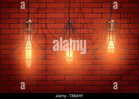 Decorative edison light bulb wire shade - Stock Image