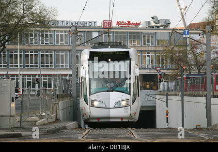 A so-called RegioTram pictured in Kassel, Germany, 21 November 2007. The RegioTram is a mixture of a common tram - Stock Image