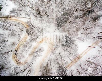 Winter in Vilnius Lithuania: aerial view of Tuputiskes Seprentine Road - Stock Image
