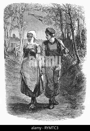 A young Dutch couple newly met, stroll, slightly tongue tied  down a forest track. From the Camera Obscura, a 19th Century collection of Dutch humorous-realistic essays, stories and sketches in which Hildebrand, the author, takes an ironic look at the behavior of the 'well-to-do', finding  them bourgeois and without a good word for them. - Stock Image