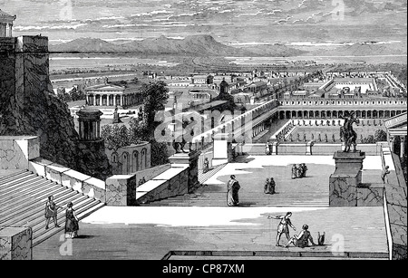 Cityscape of Corinth with temples, Greece, historic engraving from 19th Century, Stadtansicht von Korinth mit Tempelanlagen, - Stock Image