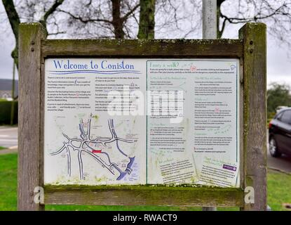 Welcome to Coniston,tourist information sign,Lake District,Cumbria,England,UK - Stock Image