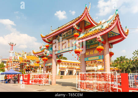 Mae Sot, Thailand - February 2nd 2019: Ornate Chinese temple. Many Thais are of Chinese origin. - Stock Image