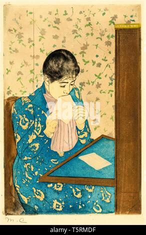 Mary Cassatt, The Letter, print, c. 1890-1891 - Stock Image