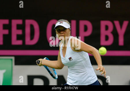 Prague, Czech Republic. 10th Nov, 2018. US tennis player Sofia Kenin in action against Czech tennis player Barbora Strycova (not seen) during the 2018 Fed Cup final match between Czech Republic and USA, rubber 1, singles, at the O2 arena in Prague, Czech Republic, on November 10, 2018. Credit: Katerina Sulova/CTK Photo/Alamy Live News - Stock Image