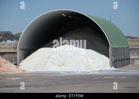 Winter Road Salt Storage Warehouse - West Jordan, Utah - Stock Image