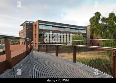 View of Dragonfly House as seen from the Jarrold Bridge footbridge crossing the river Wensum, Norwich, UK. - Stock Image