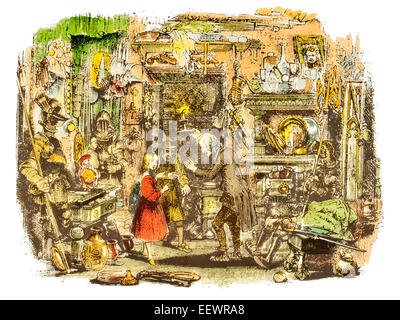 Inside the Old Curiosity Shop Nell Trent grandfather Barnaby Rudge Charles John Huffam Dickens English writer story - Stock Image