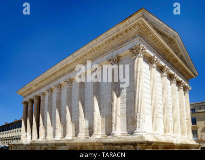 The Maison Carré (Square House), Nimes, Gard, France without people - Stock Image
