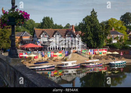 Electric launches moored by the River Thames at Wallingford by Wallingford Bridge - Stock Image