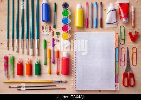 Back to school background with accessories for the schoolroom - Stock Image