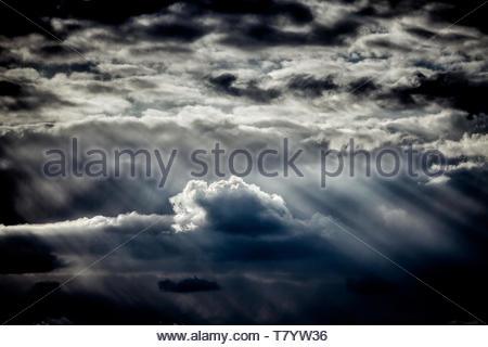 A rain cloud over the city - Stock Image