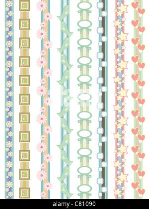 lovely border designs for decoration - Stock Image