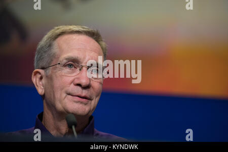 Cassini program manager at JPL, Earl Maize is seen during a press conference previewing Cassini's End of Mission, - Stock Image