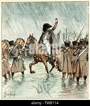 NAPOLEONIC ERA French troops on the march through a river      Date: CIRCA 1800 - Stock Image