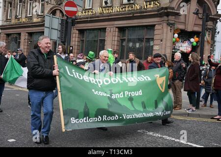 Green Liverpool Irish Banner, St.Patrick's Day, Liverpool. - Stock Image