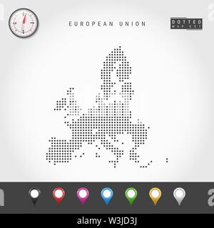 Dots Map of European Union. Simple Silhouette of European Union. Realistic Vector Compass. Set of Multicolored Map Markers. Vector Illustration. - Stock Image