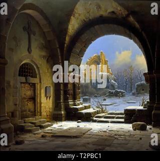 Ruins of the Medieval Abbey of Heisterbach(Rhineland)  by Wilhelm Steurwaldt 1815-1871 German Germany - Stock Image