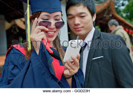 geography / travel, Vietnam, Hanoi, Fresh graduates at Temple of Literature, hanoi., Additional-Rights-Clearance - Stock Image