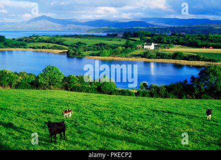 Scenic View Of Lake And Countryside - Stock Image