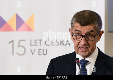 Prague, Czech Republic. 16th May, 2019. The Czech Republic has no alternative to its EU membership and it is not looking for any, Czech Prime Minister Andrej Babis said at the conference on the 15 years of Czech EU membership in Prague, Czech Republic, May 16, 2019. Credit: Roman Vondrous/CTK Photo/Alamy Live News - Stock Image