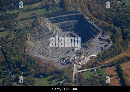 aerial Rock quarry pit mine Pennsylvania - Stock Image