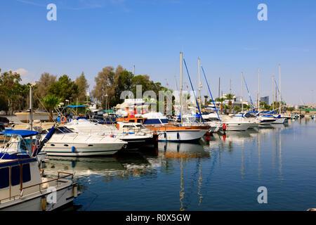 Yachts moored in Larnaca Marina, Cyprus October 2018 - Stock Image
