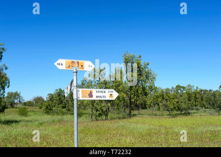 Direction signs showing old Stock Routes near Minerva Hill National Park, Queensland, QLD, Australia - Stock Image