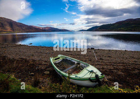 View down beautiful Loch Linnhe from Corran in the Highlands of Scotland - Stock Image