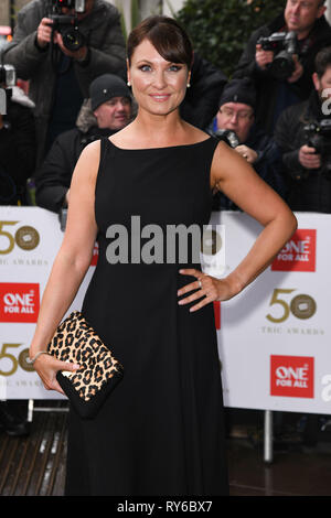 LONDON, UK. March 12, 2019: Emma Barton arriving for the TRIC Awards 2019 at the Grosvenor House Hotel, London. Picture: Steve Vas/Featureflash Credit: Paul Smith/Alamy Live News - Stock Image