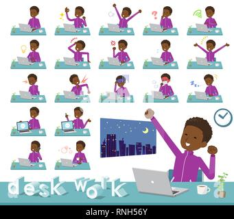 A set of school boy in sportswear on desk work.There are various actions such as feelings and fatigue.It's vector art so it's easy to edit. - Stock Image