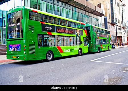 Leeds City Buses, city centre, Leeds, England - Stock Image
