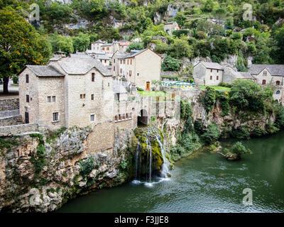 Saint-Chély-du-Tarn in the Gorges du Tarn. A village in the commune of Sainte-Enimie, of the Lozère département - Stock Image