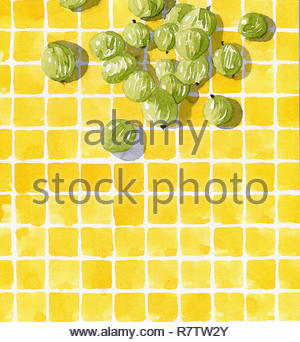 Watercolor painting of fresh gooseberries on checked tile pattern - Stock Image