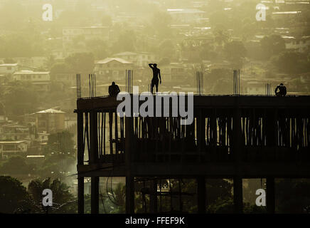 Construction site in Freetown, Sierra Leone. - Stock Image