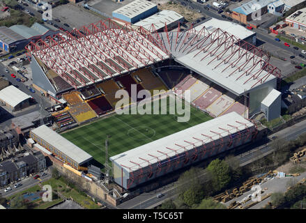 aerial view of Northern Commercial Stadium, Valley Parade, Bradford - Stock Image