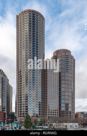One International Place, skyscraper in Boston, Massachusetts, USA. Three separate parts. Left and central towers are joined the right one is separate. - Stock Image