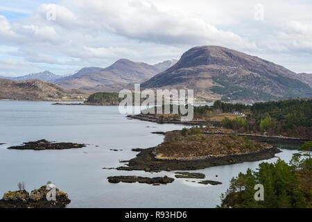 View across Loch Shieldaig to Torridon Mountains, Applecross Peninsula, Wester Ross, Highland Region, Scotland - Stock Image