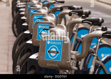 Row of Barclays Boris bike hire London - Stock Image