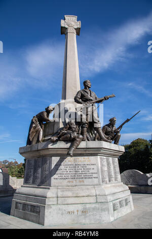 Memorial to mark Lever Brothers employees lost in the First World War and added to after the Second World War at Port Sunlight Wirral September 2018 - Stock Image
