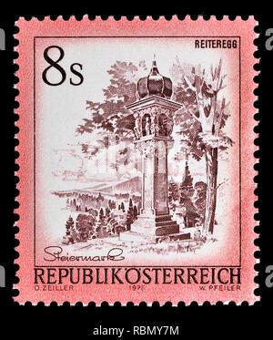 Austrian definitive postage stamp (1976) : Reiteregg - Stock Image