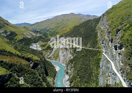 Road into Skippers Canyon, and Shotover River, near Queenstown, South Island, New Zealand - aerial - Stock Image
