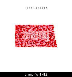 I Love North Dakota. Red Hearts Pattern Vector Map of North Dakota - Stock Image